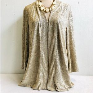 NWT Gold Shimmer Crinkle Light Cardigan Jacket